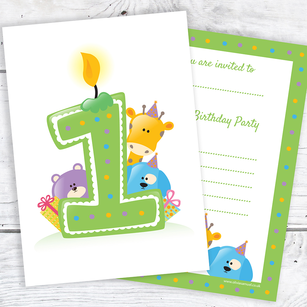 First Birthday Party Invites - Ready to Write - Candle & Animals ...