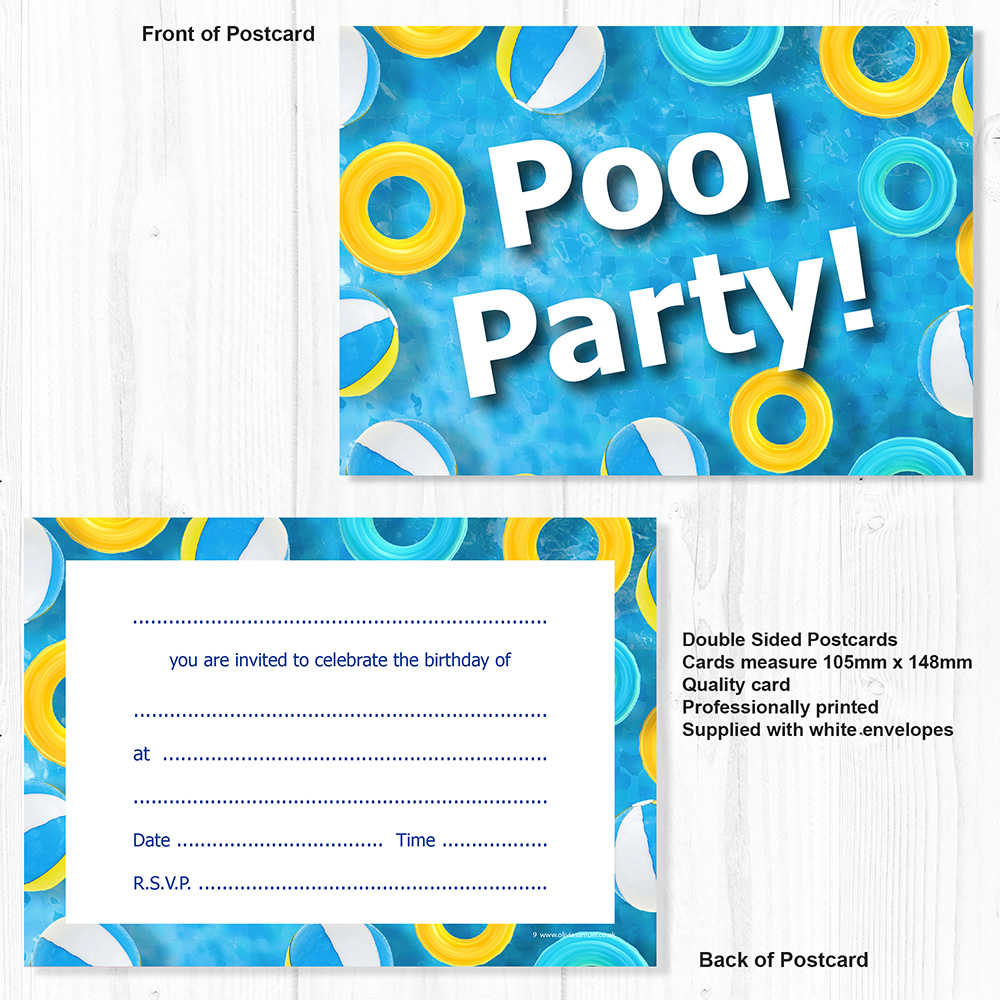 Swimming Pool Birthday Party Invitations - A6 Postcard Size (Pack 10 ...