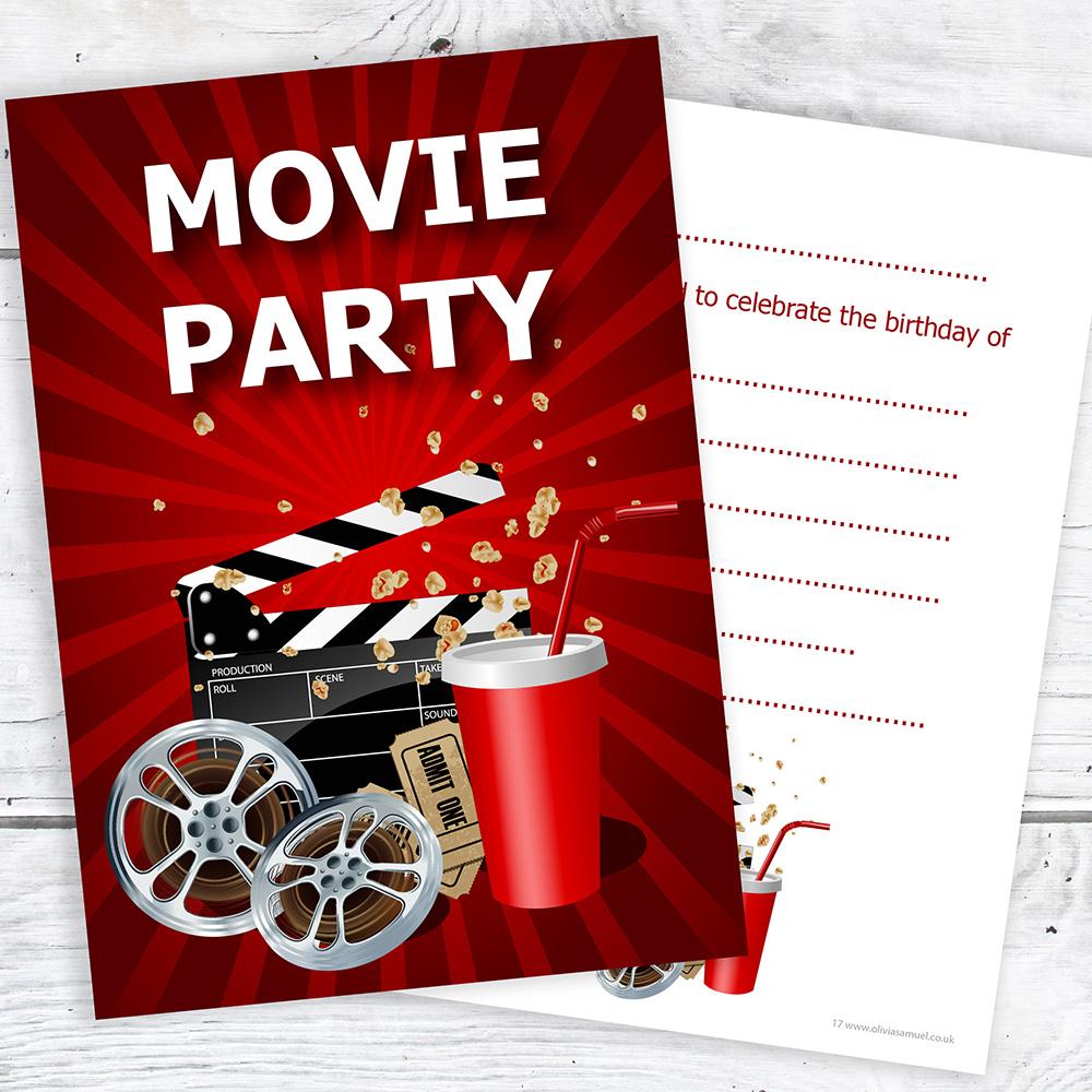 Movie Party Birthday Invitations - Kids Cinema Invites - A6 ...