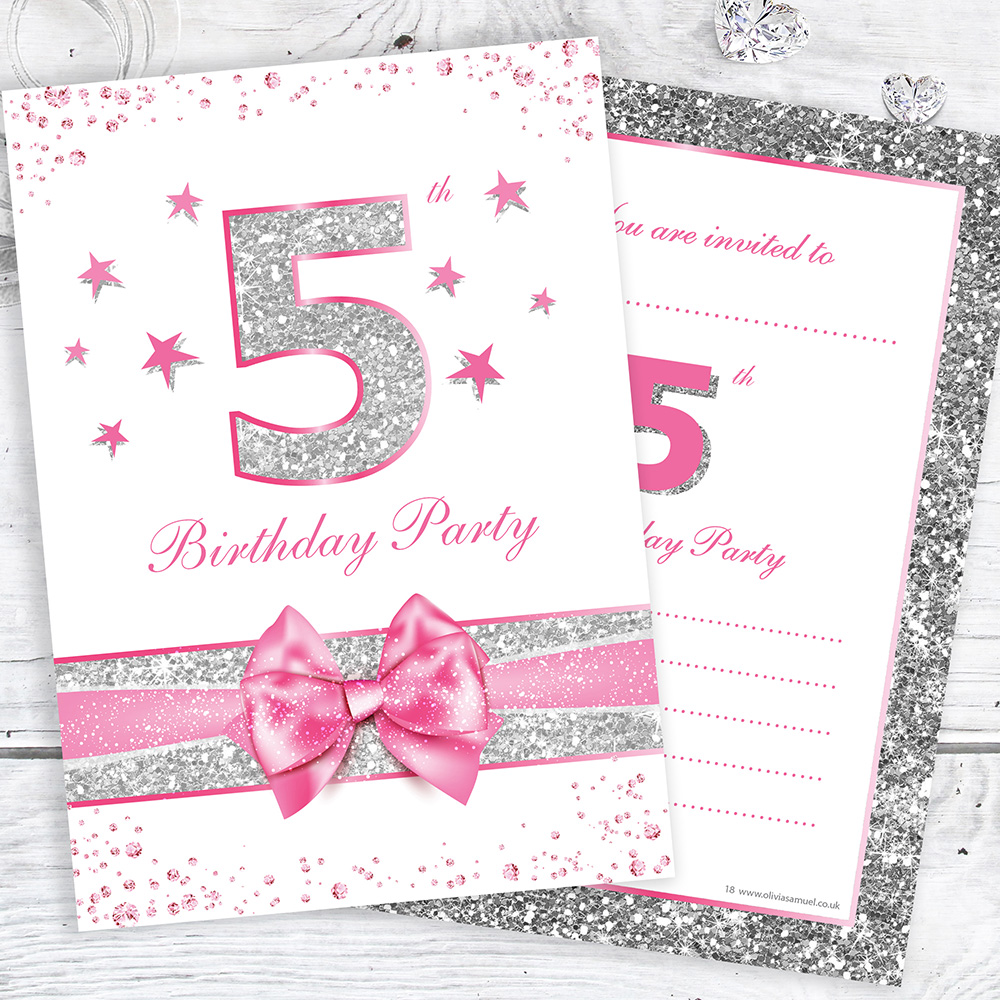 5th Birthday Party Invites - Pink with Faux Silver Glitter - A6 Size ...