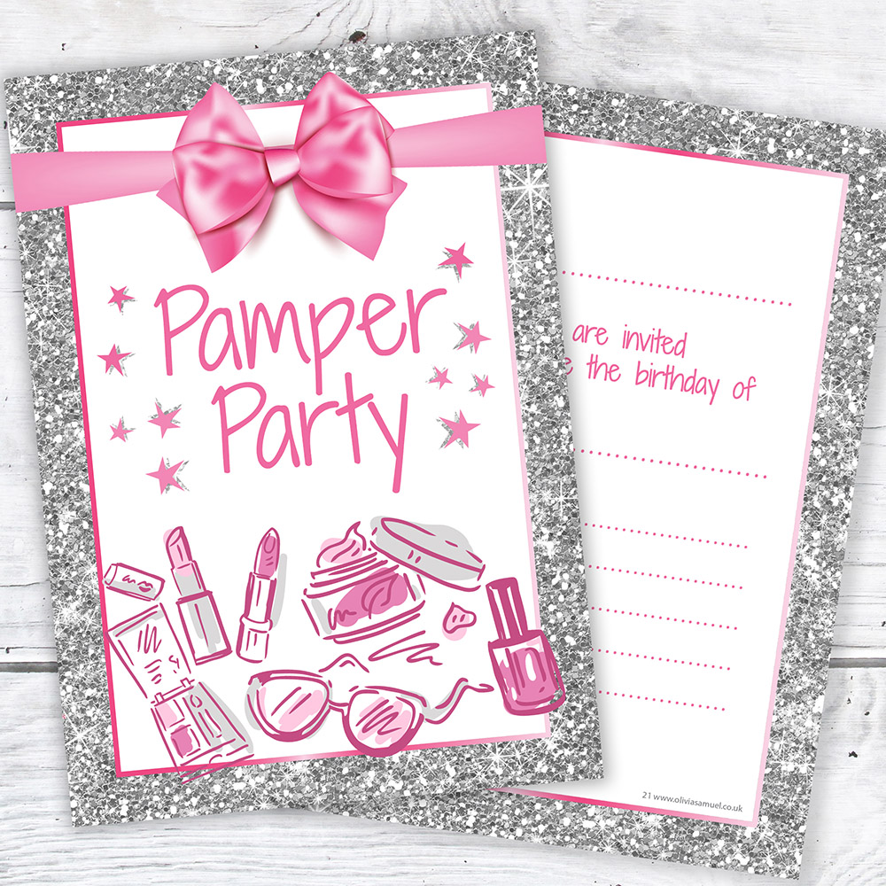 Pamper party invitations cards stationery ebay pamper party invites girls birthday photo glitter a6 postcards pack 10 stopboris Choice Image