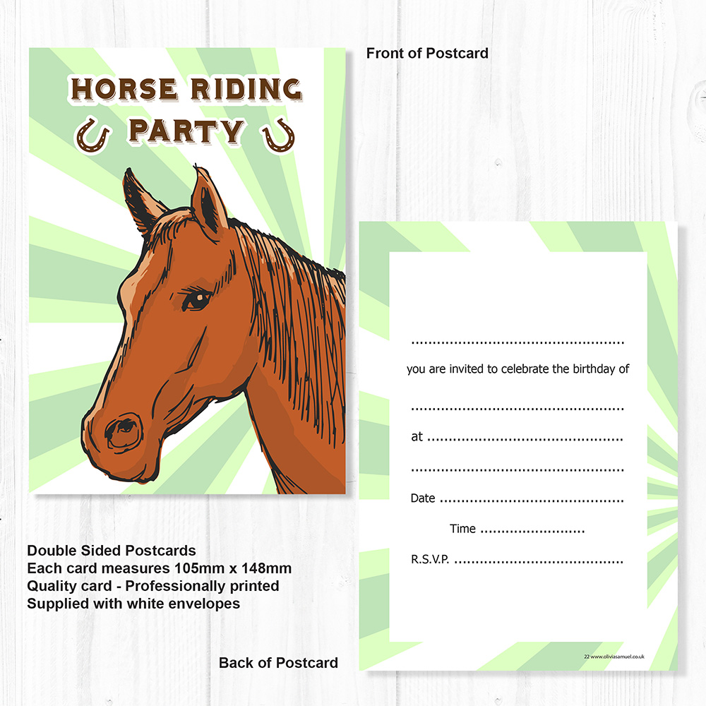 Horse Riding Party Invitations - A6 Postcard Size Invites (Pack 10 ...