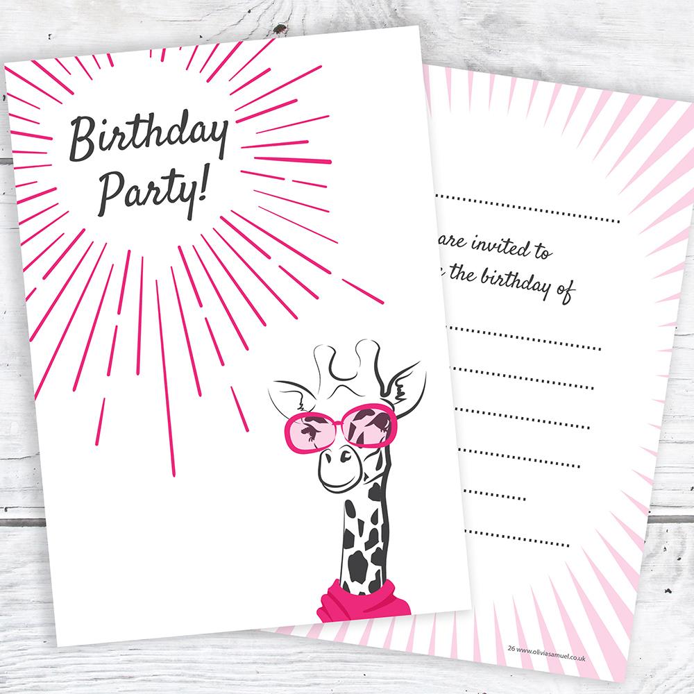 Teen Birthday Invites - Cool Giraffe Girl Teenager Invitations ...