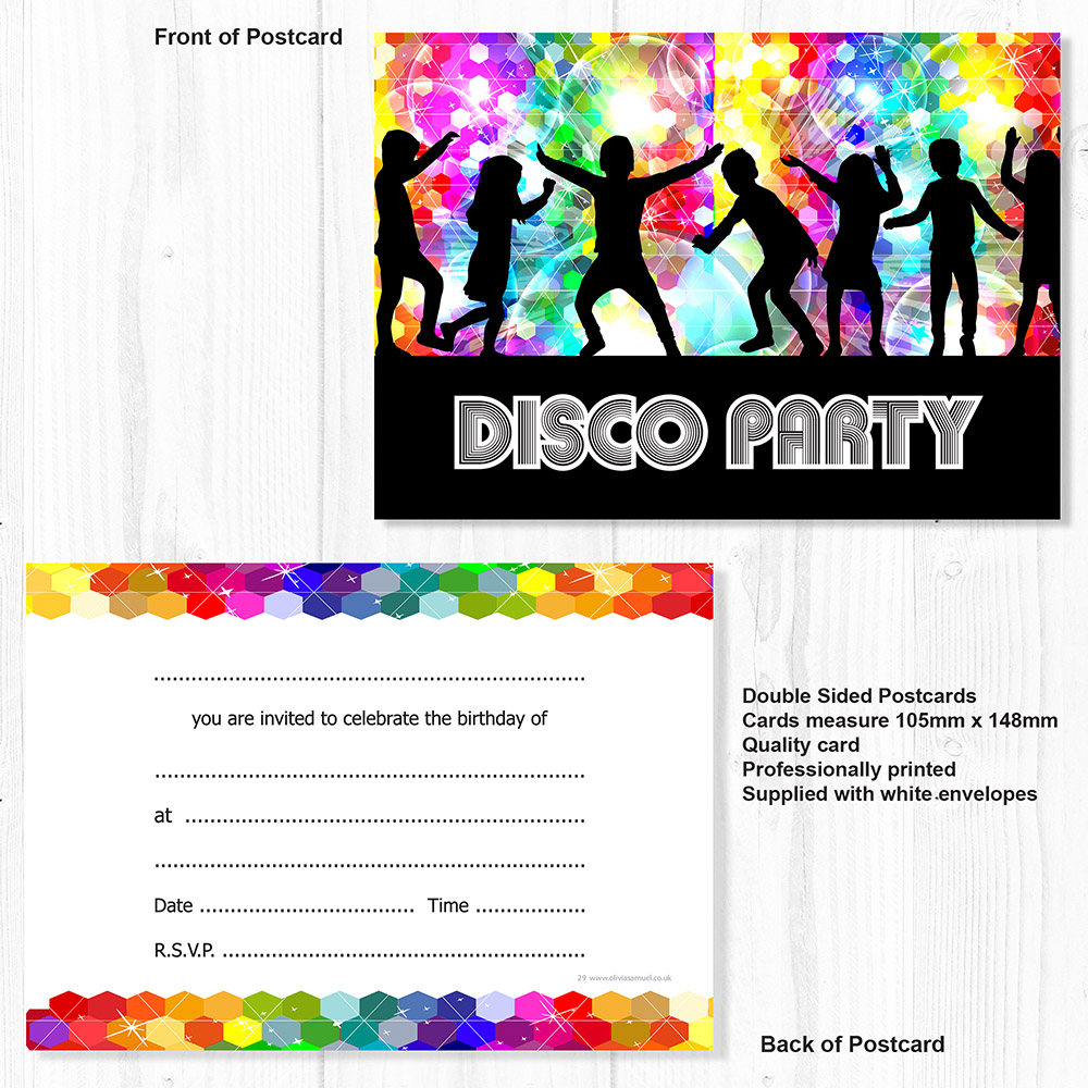 Disco Party Invitations - Kids Birthday Invites - A6 Postcard Style ...