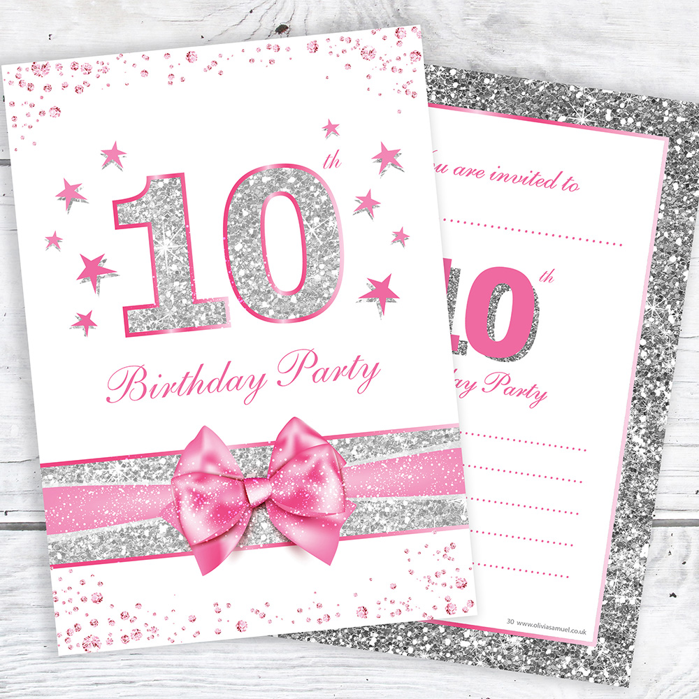 10th Birthday Party Invites - Pink with photo effect glitter - A6 ...