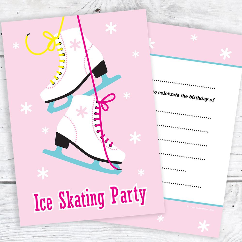 Ice Skating Party Invitations - Kids Birthday Invites - A6 Postcards ...