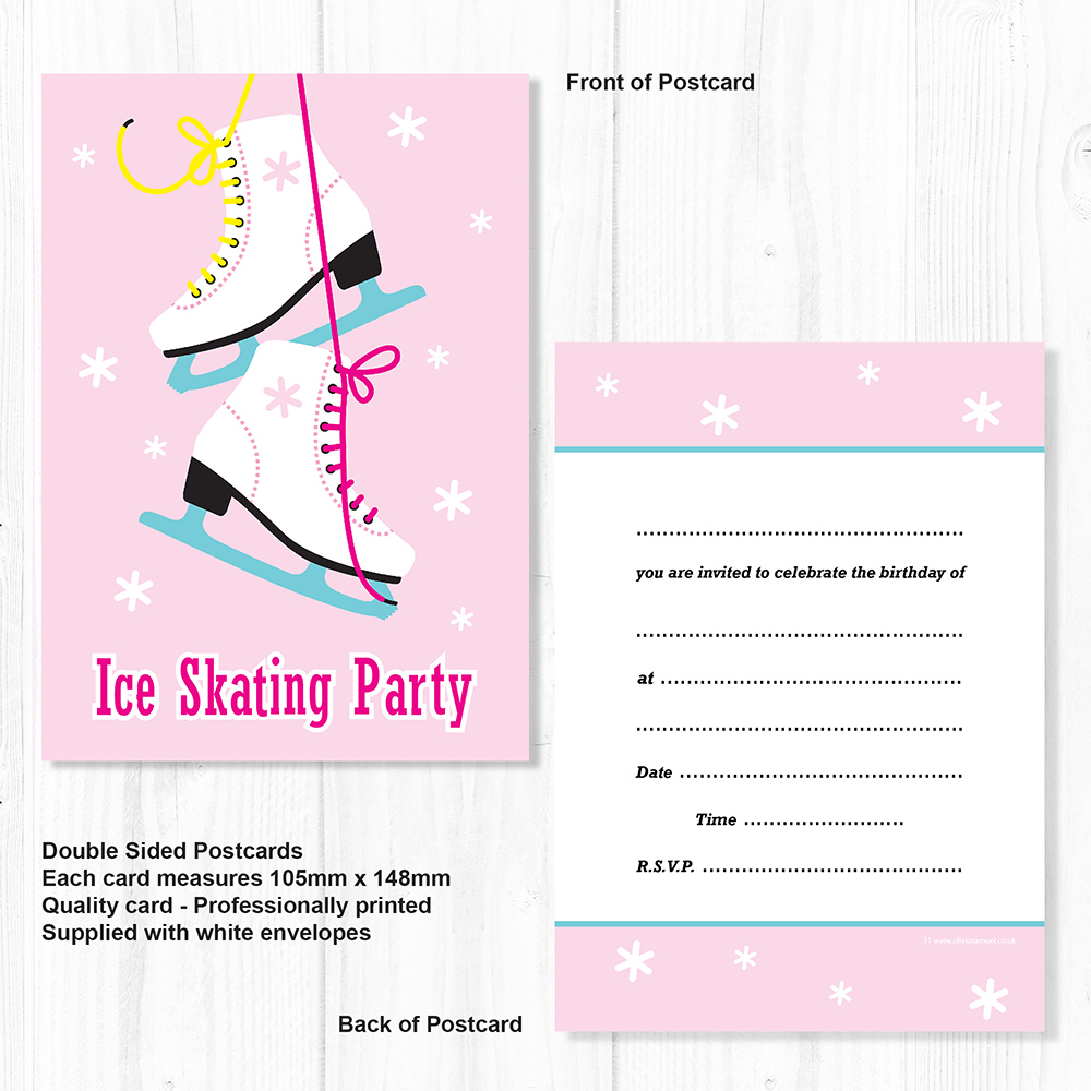 Ice Skating Party Invitations - Kids Birthday Invites - A6 ...