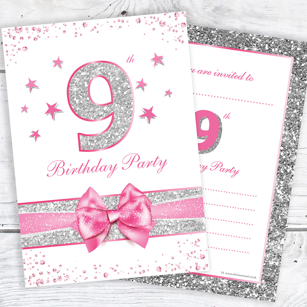 Details About 9th Birthday Invites