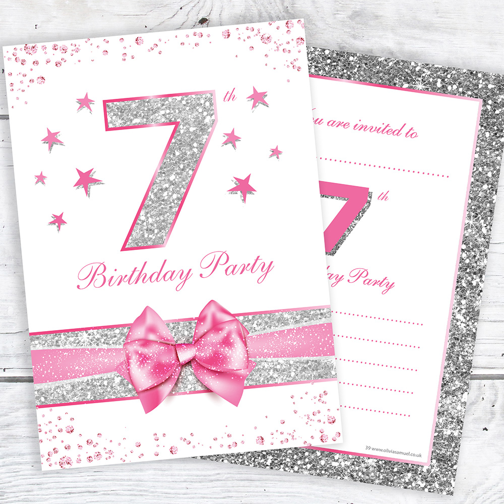 7th Birthday Invites - Pink with photo effect glitter - A6 Size ...