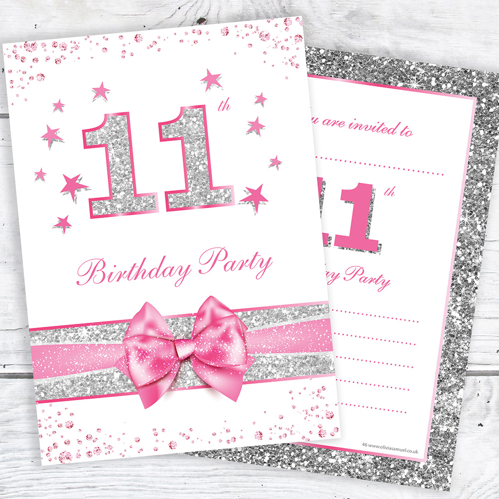 Details About 11th Birthday Invites Pink With Photo Effect Glitter A6 Size Pack 10