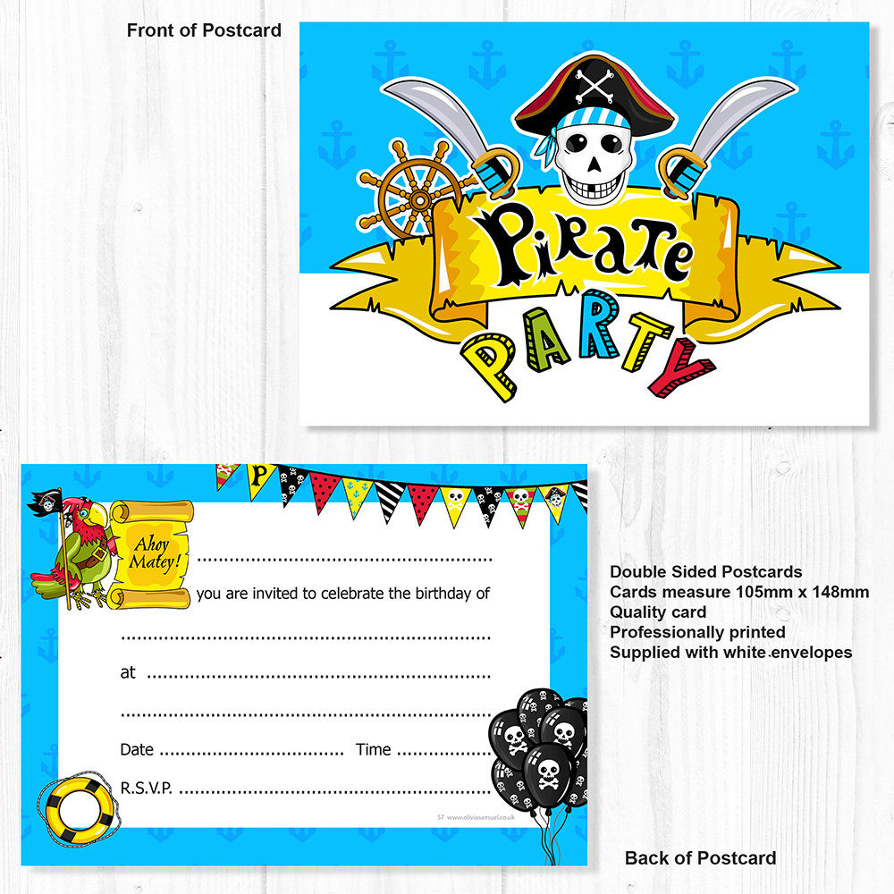 8 Invitations /& Envelopes Pirate Party Invitations Youre Invited