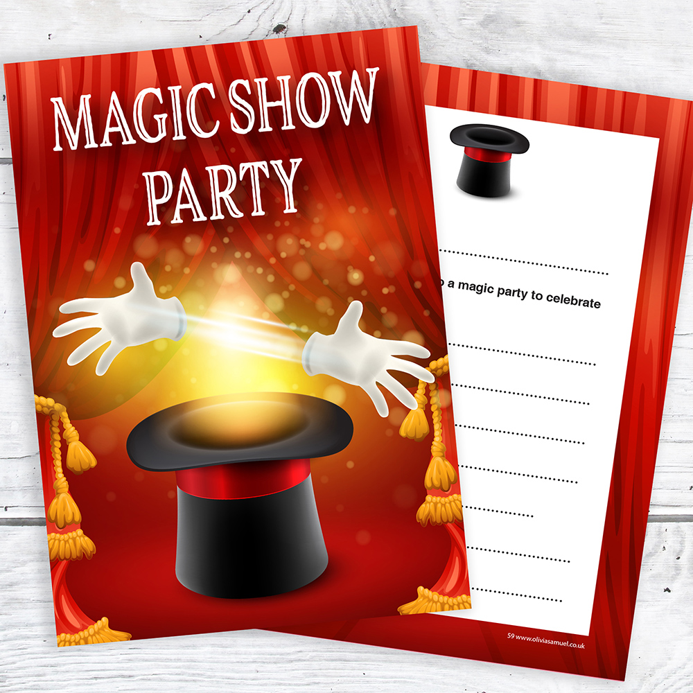 Magic Show Party Invitations - Ready to Write- A6 Postcard Style ...
