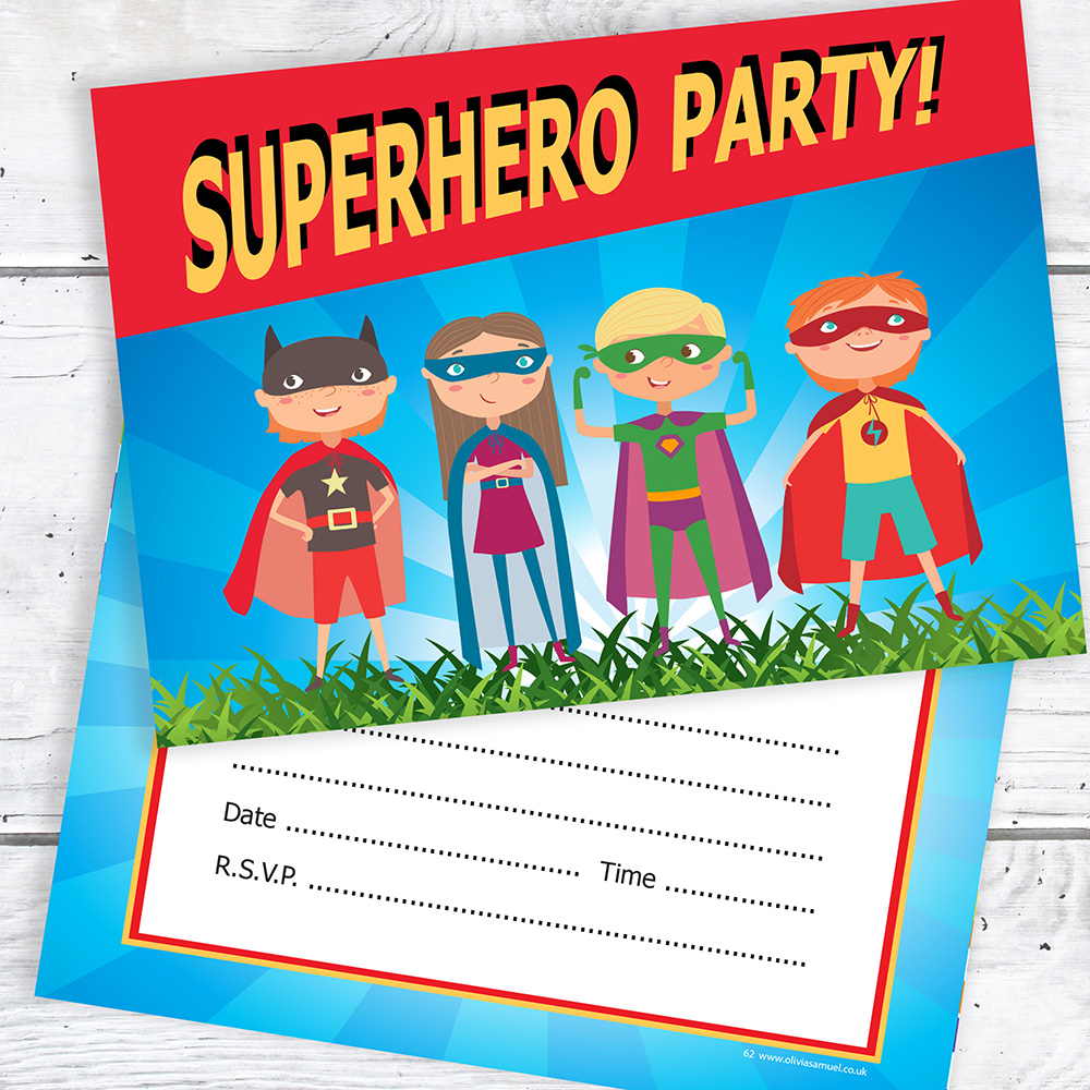 Details About Superhero Party Invitations