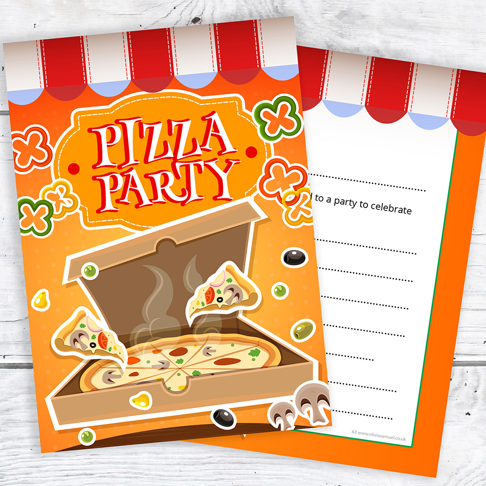 Pizza party invitations kids birthday invites a6 postcards pack ready to write a6 postcard style free white envelopes fast despatch same day before 3pm m f stopboris Choice Image