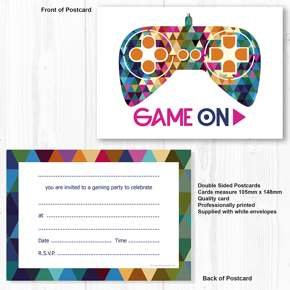 Gamer Party Invitations - Gaming Party with Envelopes - Ready to ...
