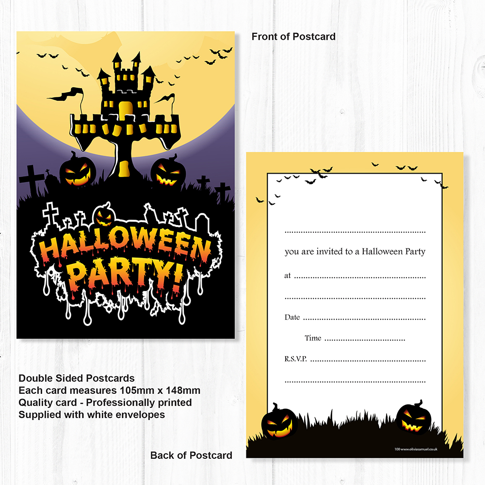 halloween party invitations - ready to write - a6 postcard style