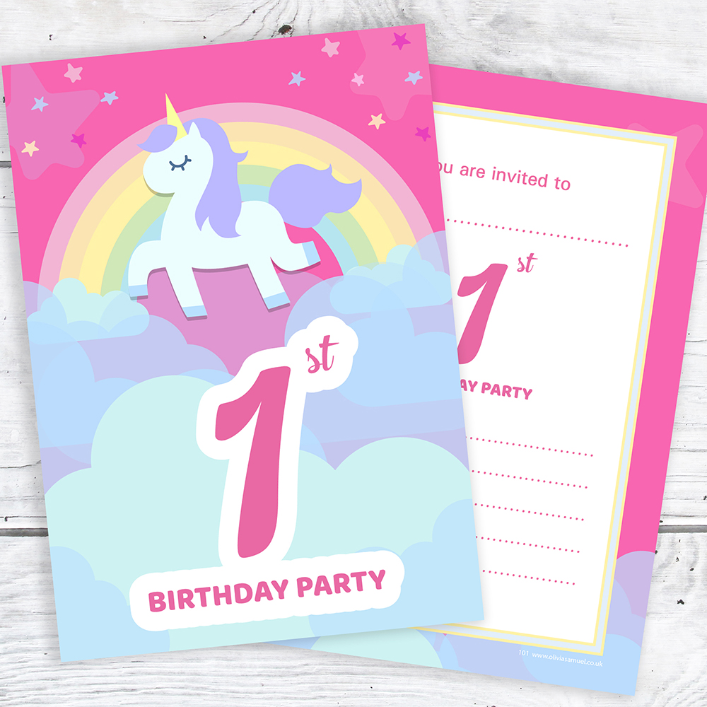 1st Birthday Unicorn Party Invitations - Ready to Write Postcard ...
