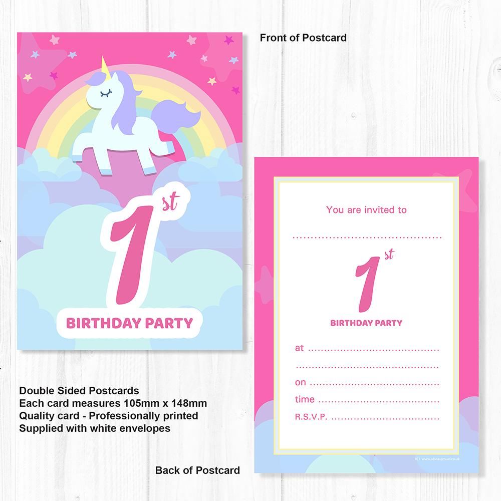 1st Birthday Unicorn Party Invitations - Ready to Write Postcard ...