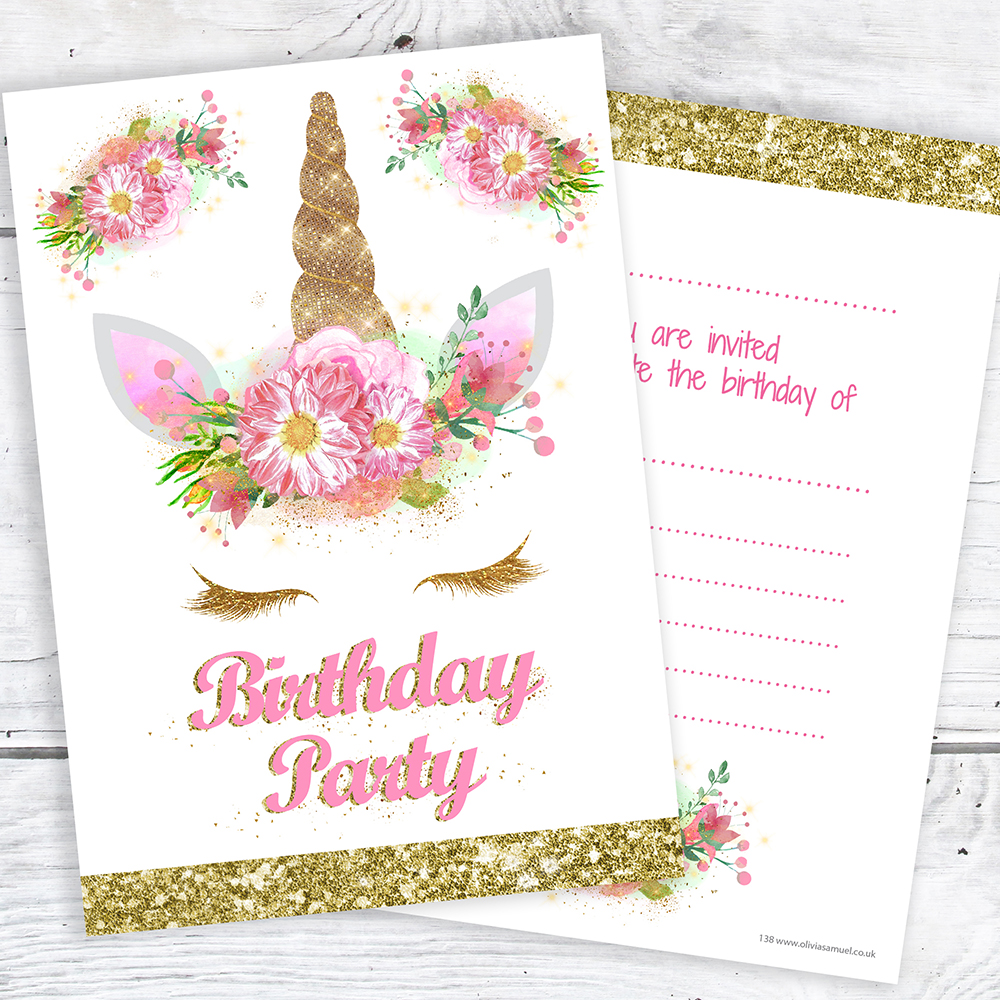 Unicorn Girls Birthday Party Invitations - Ready to Write with ...