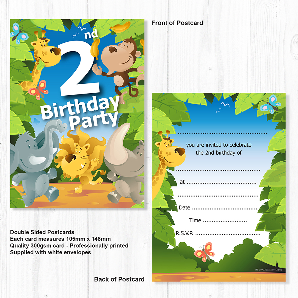 Description Pack Of 10 High Quality Fun Childrens Jungle 2nd Birthday