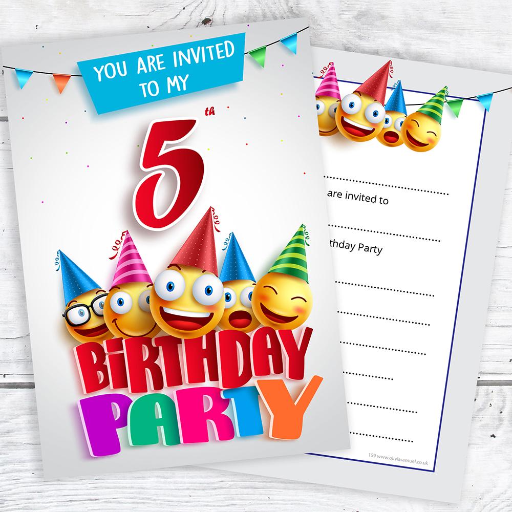 Emoji 5th Birthday Invitations - Ready to Write with Envelopes (Pack ...
