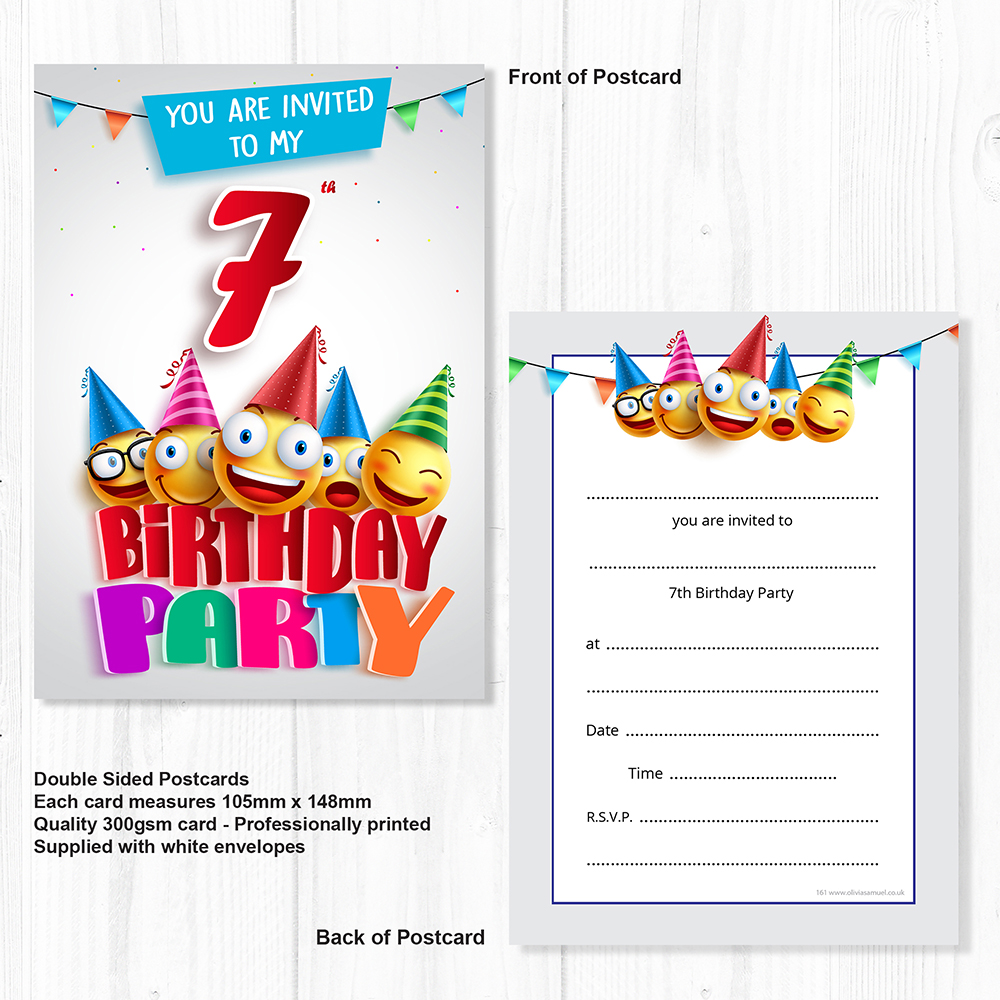 Emoji 7th Birthday Invitations - Ready to Write with Envelopes (Pack ...
