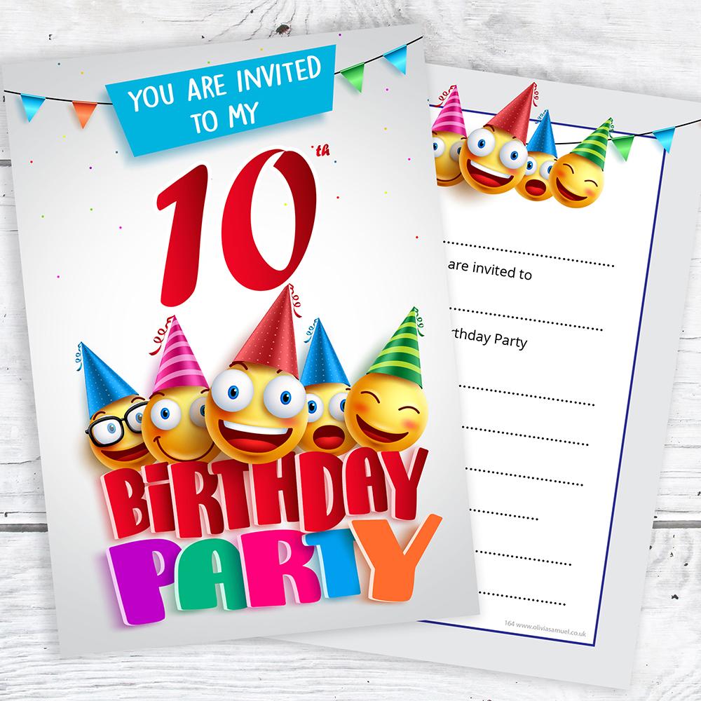 Emoji 10th Birthday Invitations - Ready to Write with Envelopes ...