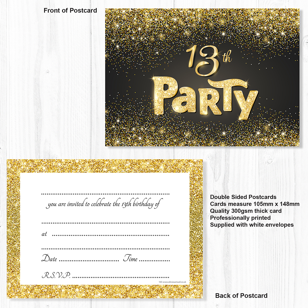 13th Birthday Invitations Black and Gold Glitter Effect with Envelopes  (Pack 10) | eBay