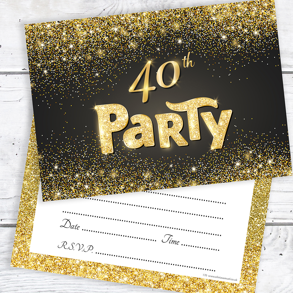 40th Birthday Invitations Black and Gold Glitter Effect with ...