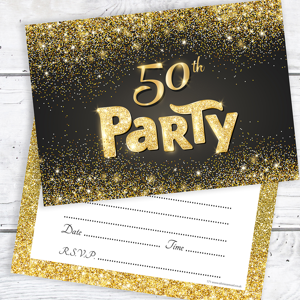Details About 50th Birthday Invitations Black And Gold Glitter Effect With Envelopes Pack 10