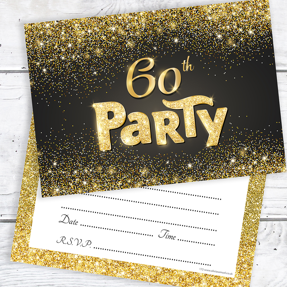 Details About 60th Birthday Invitations Black And Gold Glitter Effect With Envelopes Pack 10