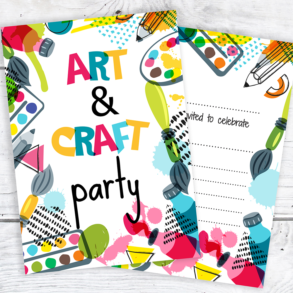 Art and Craft Party Invitations - Ready to Write with Envelopes ...