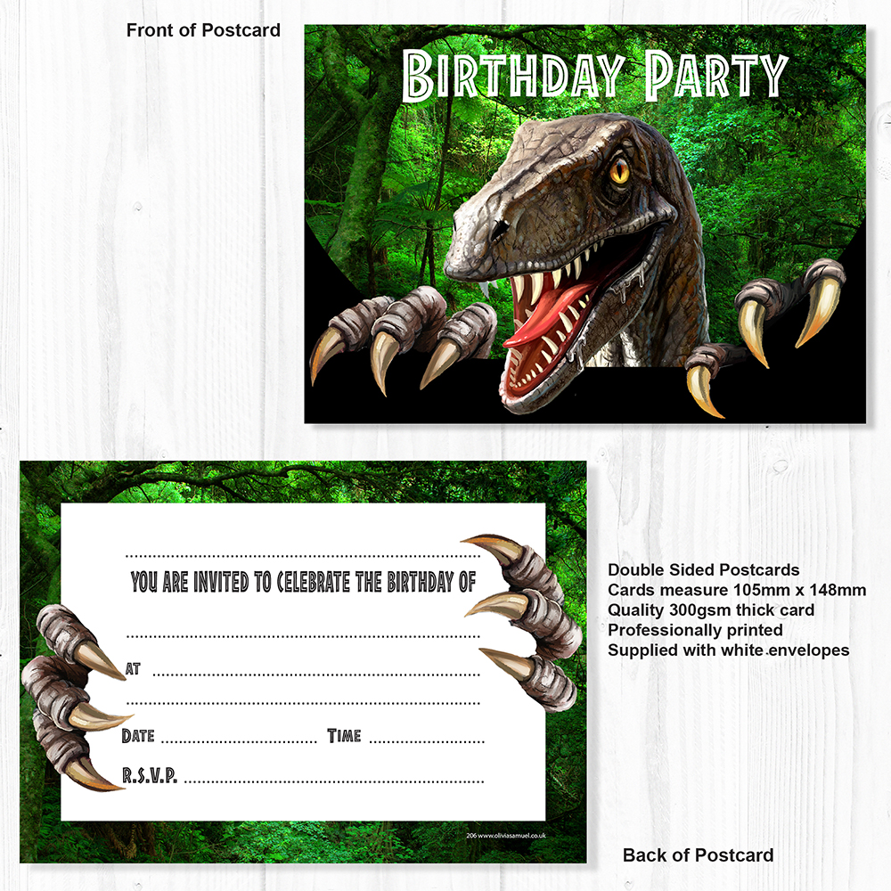 Dinosaur Trex Birthday Party Invitation Set Of 10 Invitations With White Envelopes
