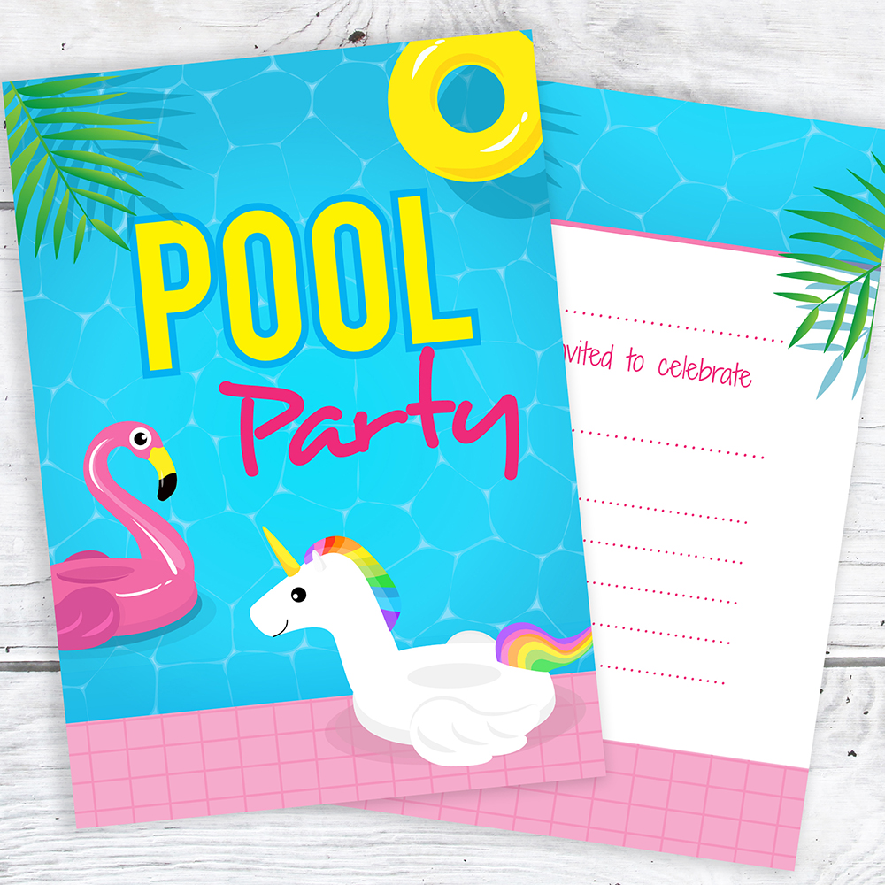 Details About Unicorn Pool Party Invitations Ready To Write Invites With Envelopes Pack 10