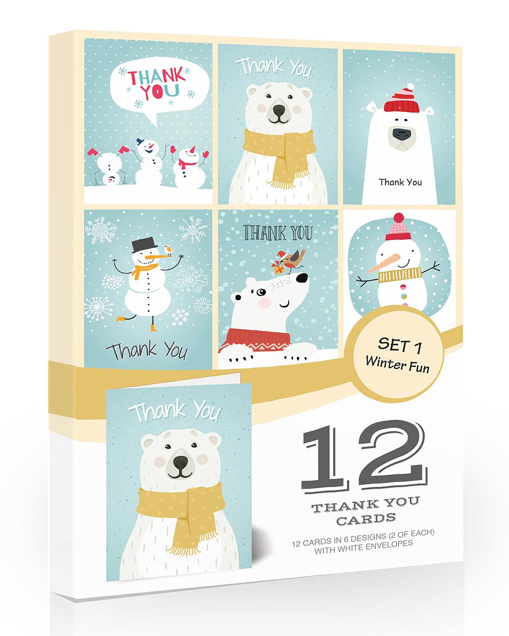 12 x festive kids christmas thank you cards  olivia